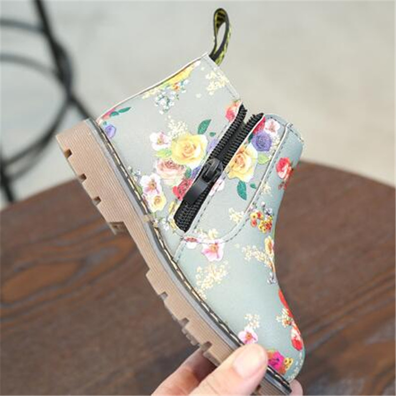 Winter Shoes Children Ankle Boots Baby Toddler Boys  Girls Floral Flower Print Chelsea Boots Autumn Kids Shoes 02B