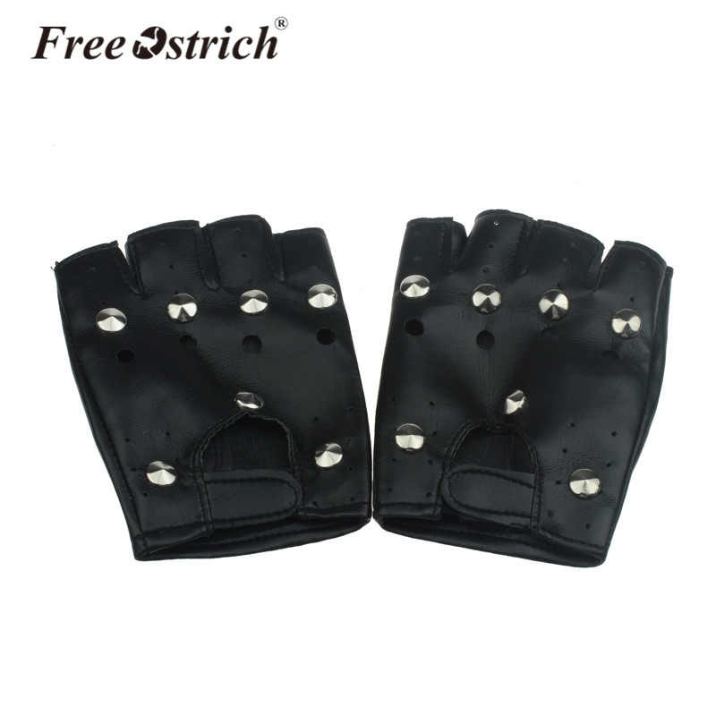 Free Ostrich PU Leather Gloves Round Nail Luva Motociclista Tactical Gloves Without Fingers Punk Hip-hop Half-finger CJ20