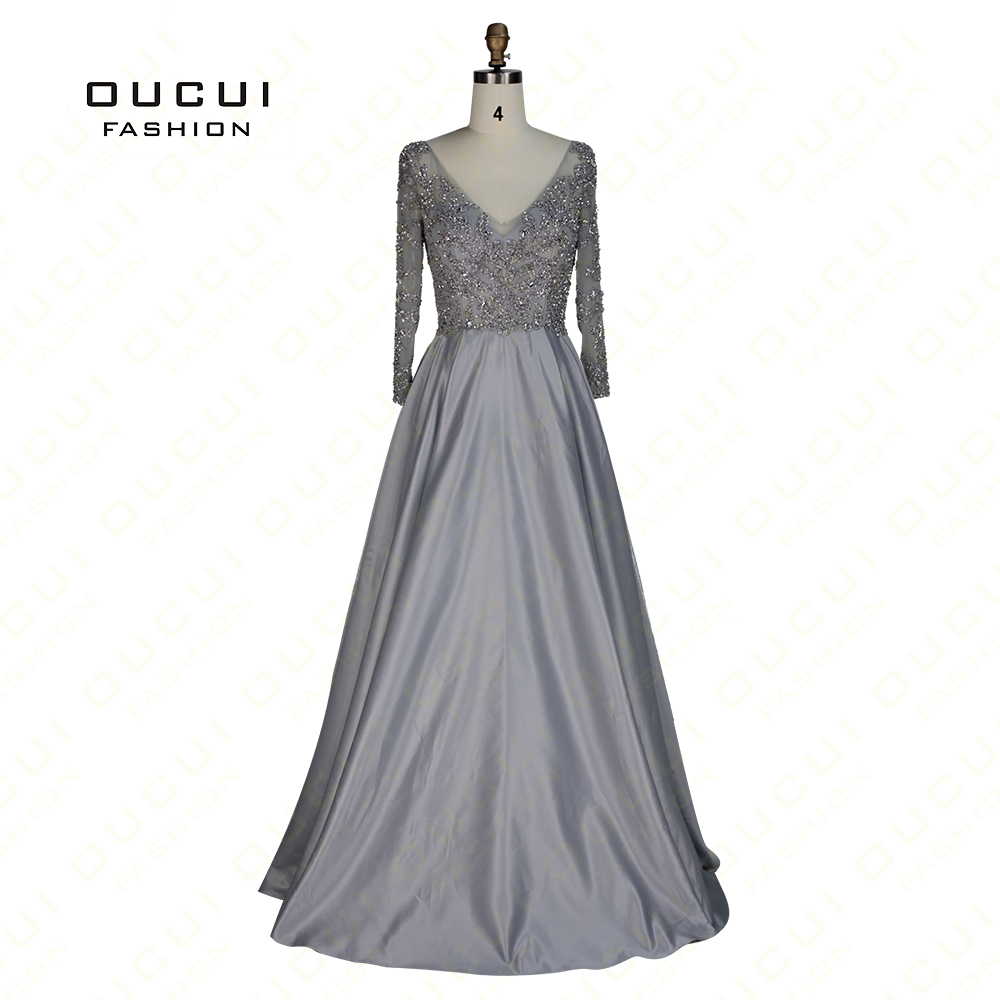 Real Photos Quality handmade Beading V neck Party Prom Elegant Long   Evening     Dress   Long sleeve Ball Gown OL102937