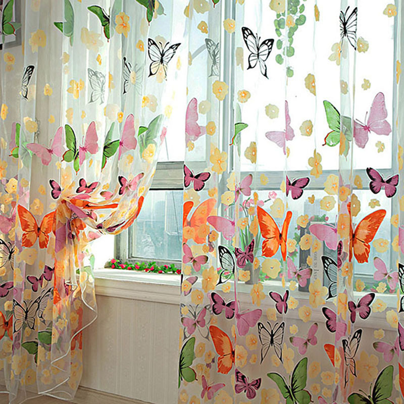 Butterfly Print Sheer Window Panel Curtains Room Divider Romantic fabric Tulle Sheer Curtainsl