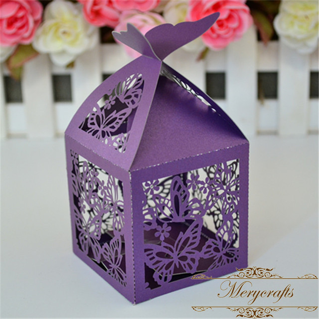 Wedding Favors And Gifts Box Laser Cut Beautiful Erfly Theme Purple Favor Bo