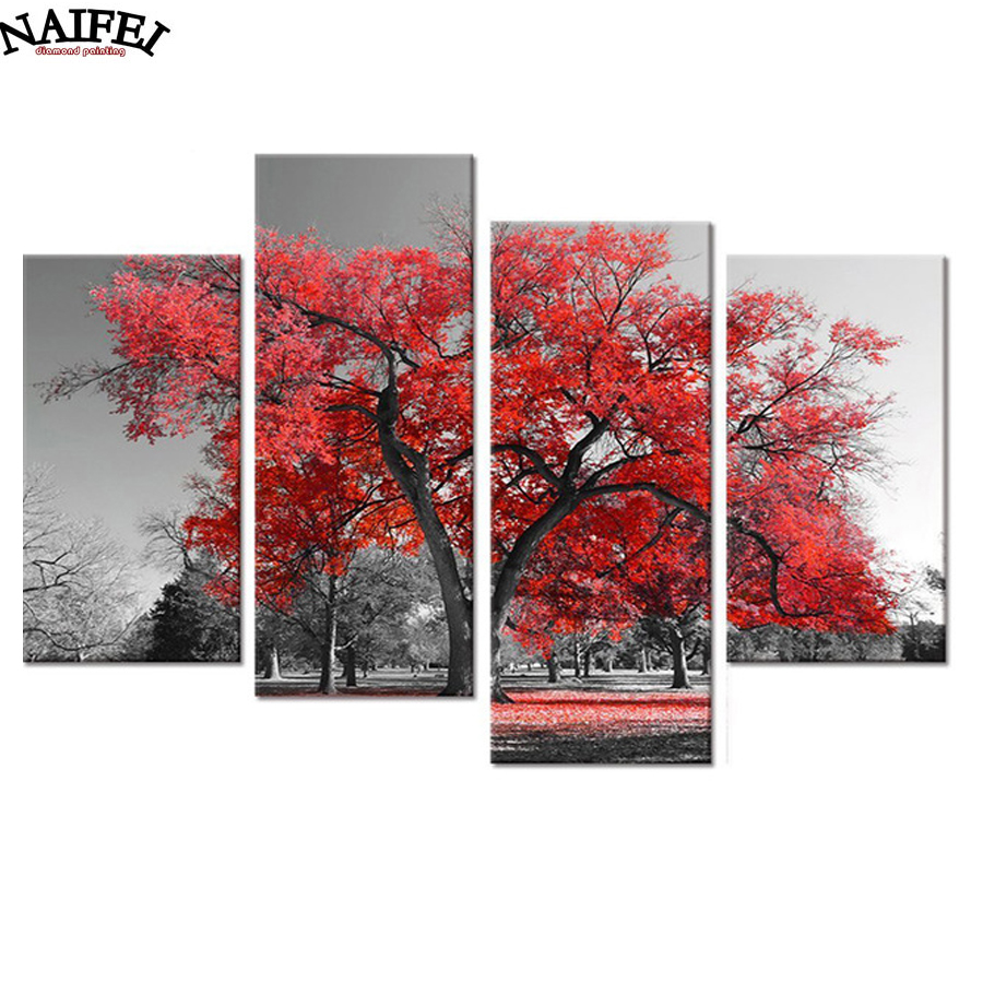 4ks / set 5d Diamantové vyšívání červený strom jehly sady - Umění, řemesla a šití