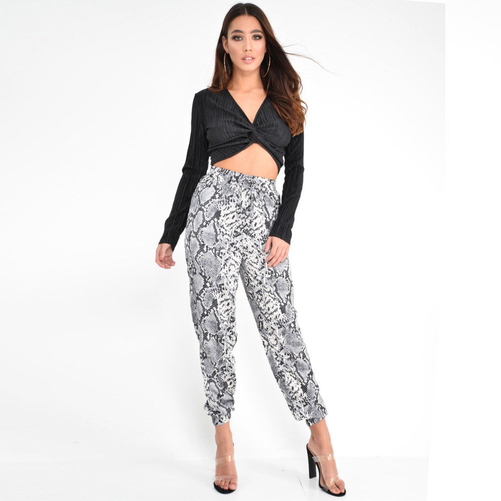 New Women Animal Pattern Trouser Casual Snake Skin Printed Harem Pants Elastic pleated female casual ankle length trousers 7