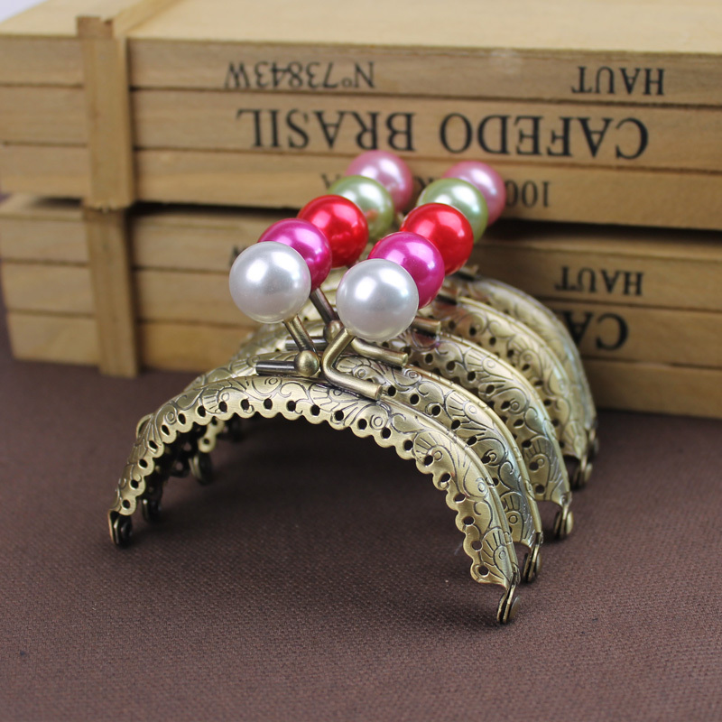 freeshipping Selfless 20pcs High Quality 8.5 Cm Pearl Head Metal Purse Frame Handle Completed Holes Wholesale Luggage & Bags