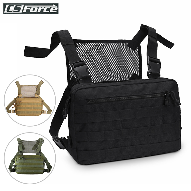 Hip Hop Military Tactical Chest Rig Bag Backpack Men Adjustable Multi-Functional Molle Tool Pouch Shoulder Bag Tactical Vest Bag