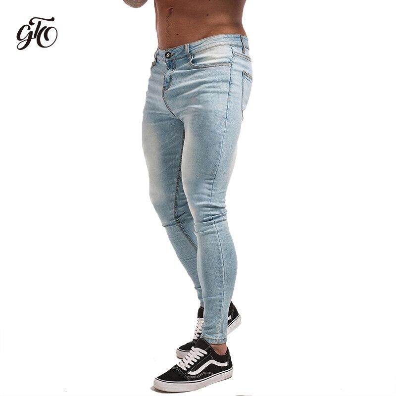 Gingtto Skinny Jeans Per I Ragazzi di Stirata Dei Jeans Light Blue Jeans Strappati Del Denim Per Gli Uomini Slim Fit Stretto Pantaloni di Marca Hip hop zm32