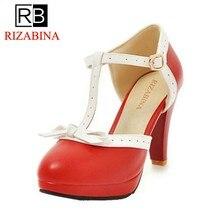 fb7a2069fe Tamanho 32-48 RIZABINA Mulheres Sandálias de Salto Alto arco Sapatos de  Casamento das Mulheres