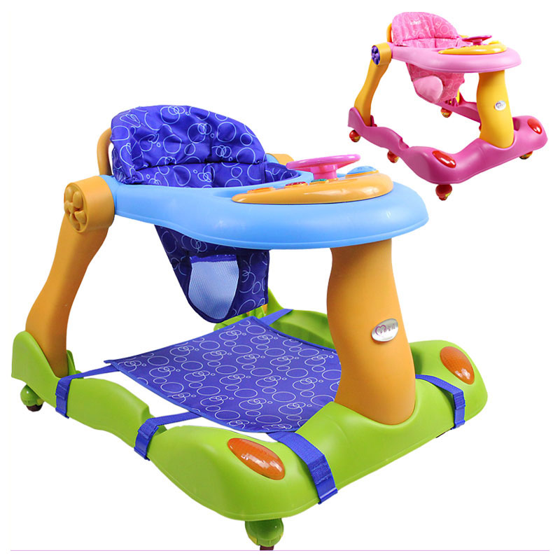 цена на Anti Rollover Baby Activity Child Walker Baby U Walker Car with Wheels Music Folding Baby Learning Walker Walking Assistant Aid
