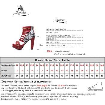 Red Platform Sandals | Sgesvier 2019 Platform High Heels Gladiator Sandals Women Pumps Red Rome Chains Ankle Boots Summer Ladies Shoes Peep Toe G269