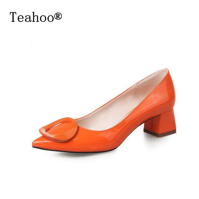 123732aa 2017 otoño mujer gruesa Tacones bajos cuero punta toe Zapatos mujer rojo  slip on vestido Zapatos