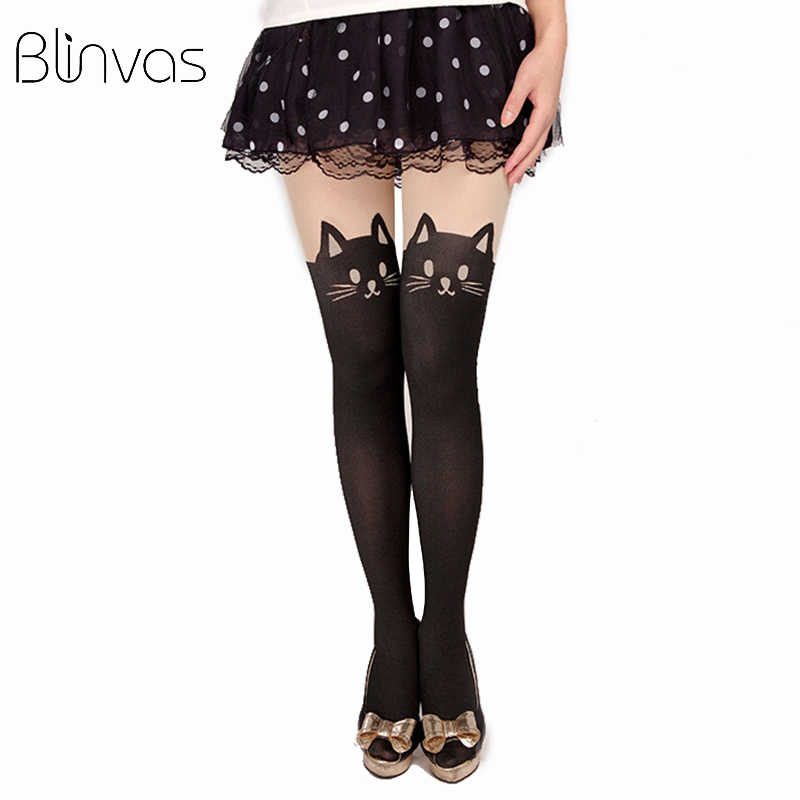 Blinvas Tights Animal Black Cat Collant Cute Wihte Pantyhose Female Collant Fantaisie Pantyhose Female