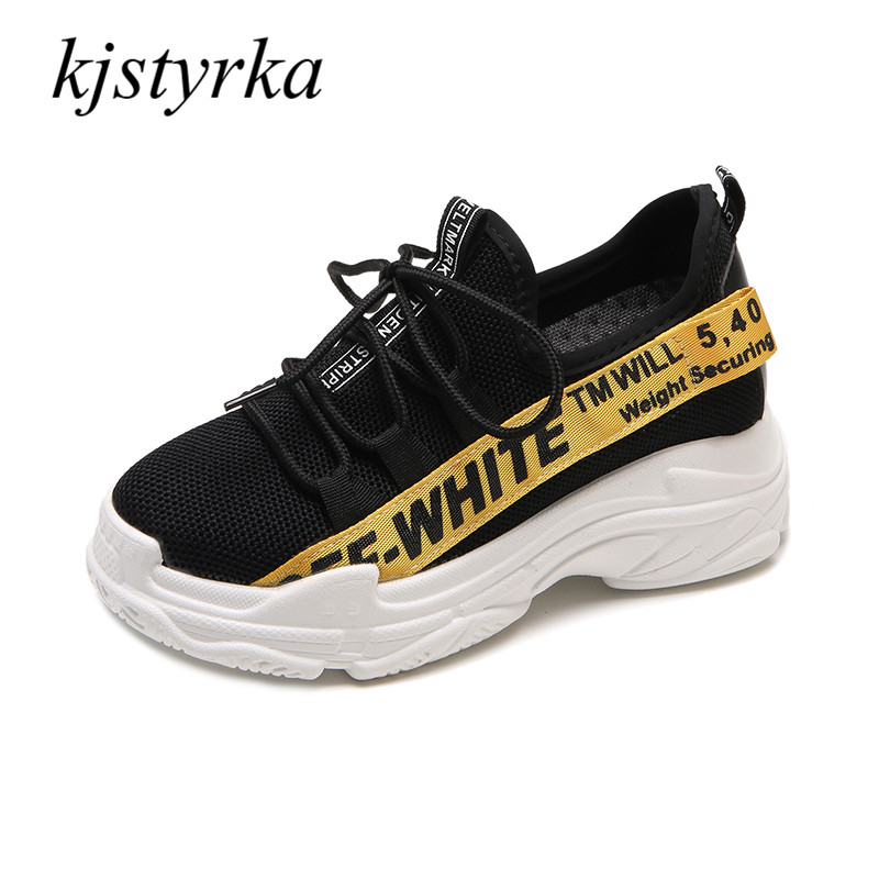 kjstyrka 2018 fashion shoes women sneakers Breathable lace-up femle tenis feminino Alphabetical pattern students shoe