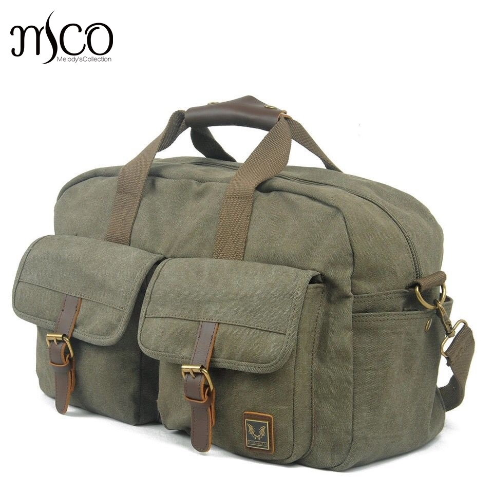 92959ffd838a6e MCO Vintage Military Canvas Duffel Weekend bag Tote Men Large Capacity  travel Shoulder Bags Satchel Travel Luggage Overnight Bag-in Travel Bags  from Luggage ...
