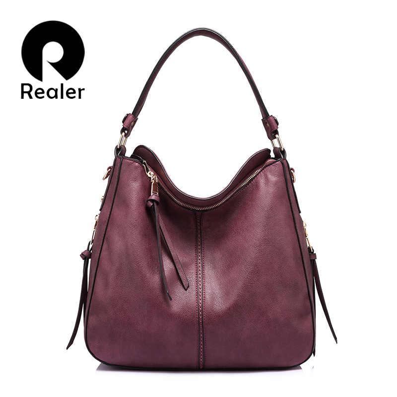 c0ec6701049a REALER сумка с короткими ручками, бренд модная большая большая сумка  женская через плечо, дамская