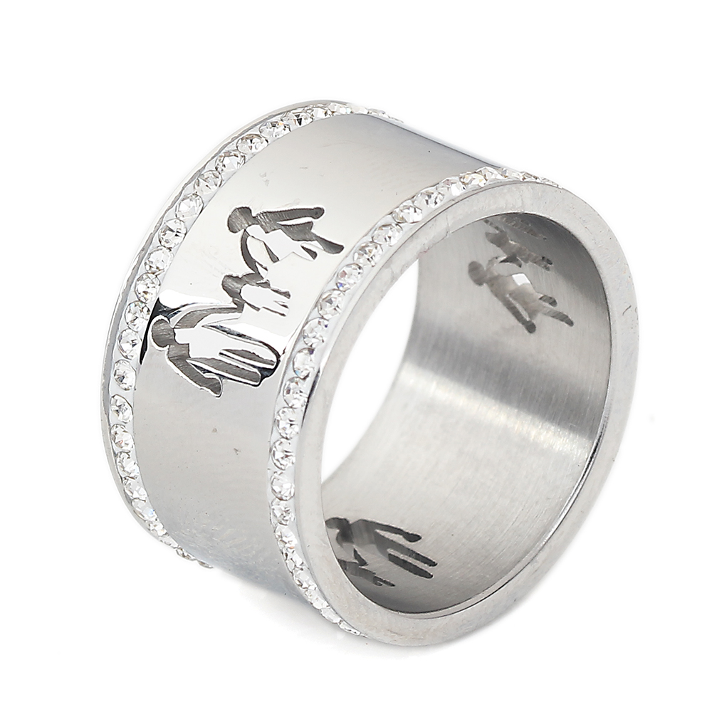 Stainless steel hollow out family ring ts