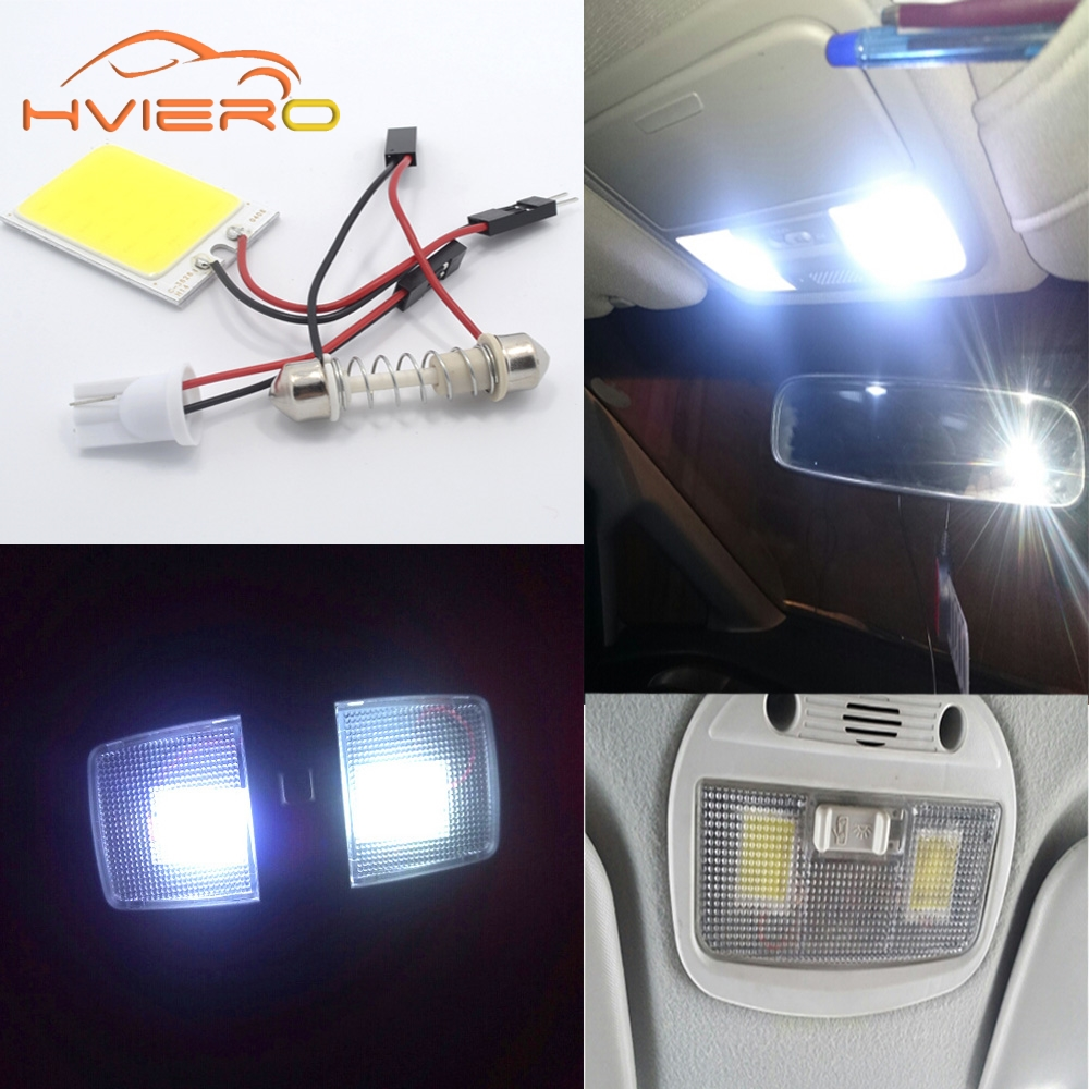 2Pcs T10 COB 24 SMD LED Panel White Red Car Auto Interior Parking Light Reading Map Lamp Bulb Dome Festoon BA9S 3 Adapter DC 12V 48 led auto car dome festoon interior bulb roof light lamp with t10 ba9s festoon adapter base reading light high quality