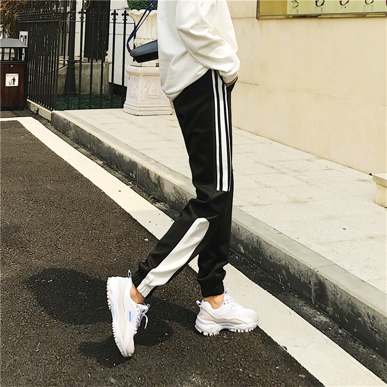 Cargo Pants Women Patchwork Long Pants High Waist Side Striped Black Trousers Student Elastic Waist Harajuku Plus Size Bottoms 61