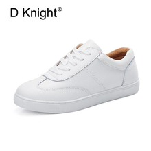 Ladies Casual Lace Up Genuine Leather Casual Shoes Cow Leather Shoes For Women Female Comfortable White Shoes