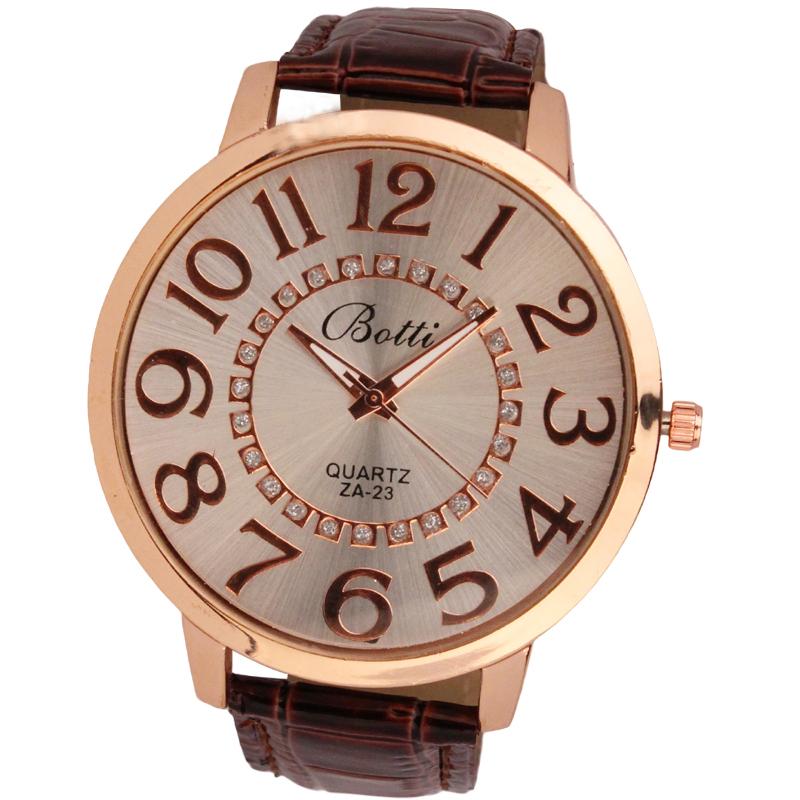 Quartz Watch Large-Number Golden-Dial Womens Analog Fashion Wd3 Numerals Reloj-De-Dama