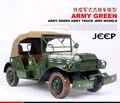 1 pcs 17 polegadas feitas à mão metal caminhão modelo de jipe para desk plataforma tradicional EUA Exército verde
