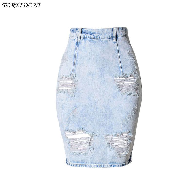 2017 fashion denim skirts summer knee length