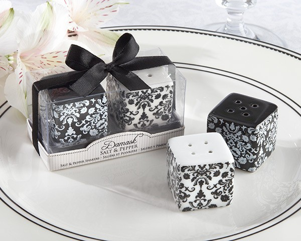 wedding favor gift and giveaways for guest-- Damask Ceramic Salt and Pepper Shakers bridal shower party souvenir 200pcs/lot