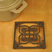 3 Vintage Cast Iron Trivet Square Flower Trivets Pot Bowl Plate Dish Tray Holder Home Restaurant Kitchen Table Decor Metal Craft