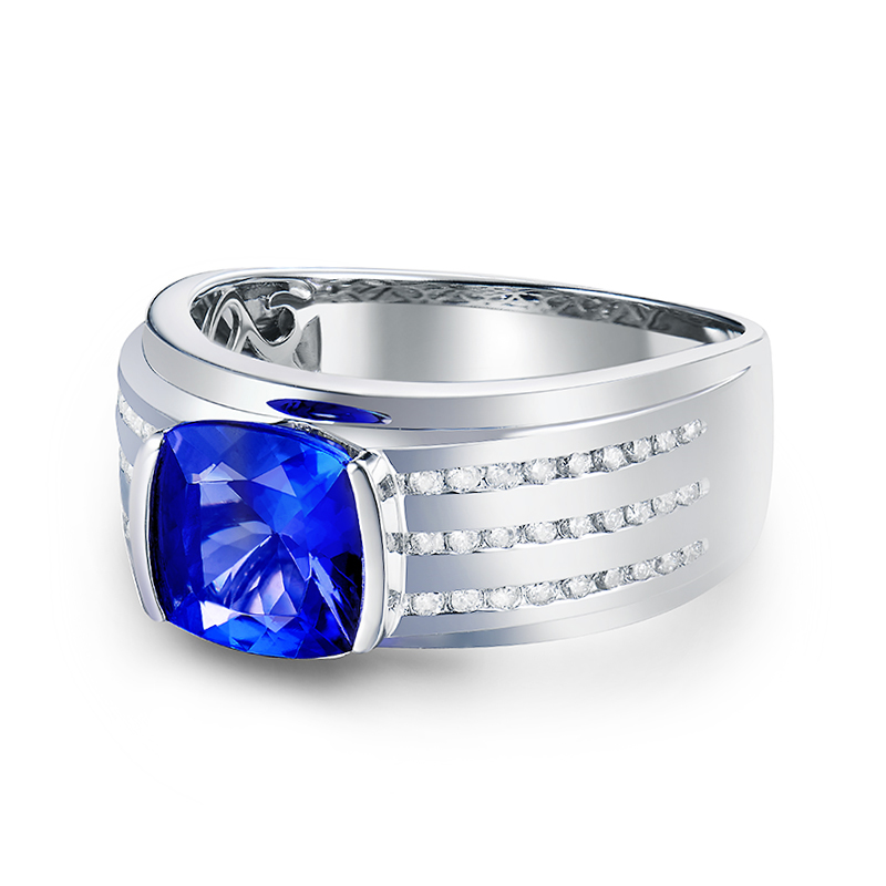 Romantic Real 14K White Gold Natural Tanzanite Mens Ring Charming 0.32ct Diamond Wedding Jewelery Gift for Husband