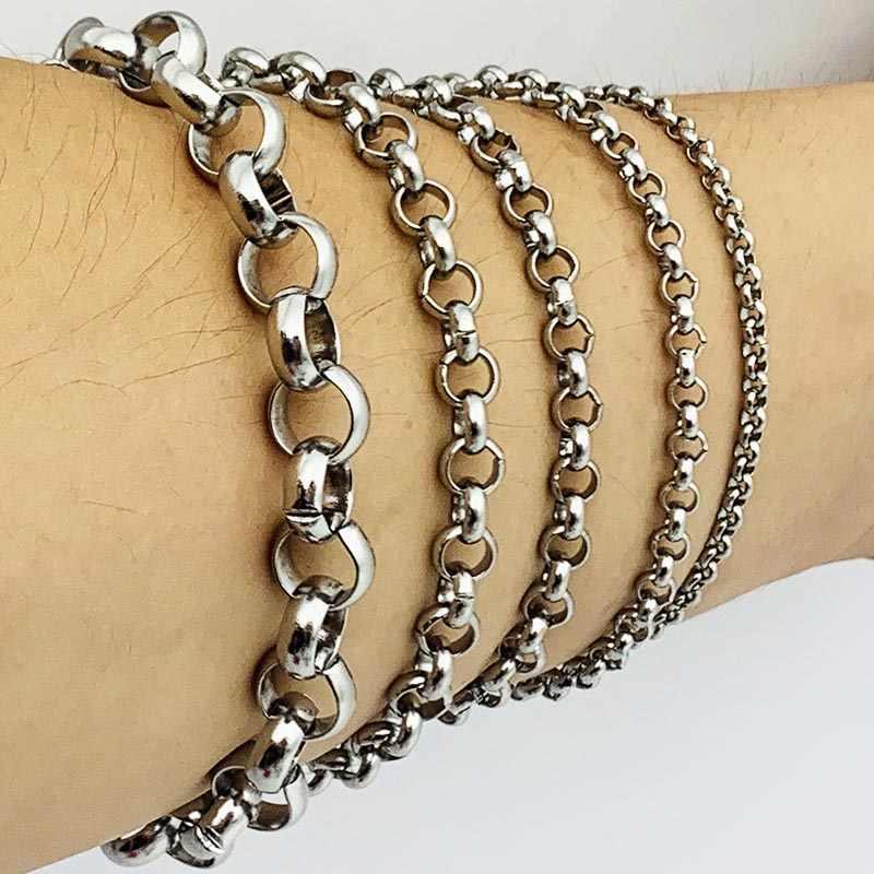 Mujer hombre Rolo cadena pulsera Acero inoxidable hombres mujeres pulseras AMYA joyería para hombres