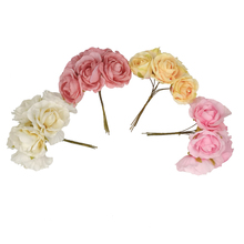 12pcs/lot 4Colors 2 Fabric Peony Flowers DIY Handmade Craft Baby Girls Hair Accessories Kidocheese