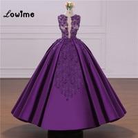 Puffy Purple Prom Dresses Ball Gown Party Dress Custom Made Applique Beaded Vestido De Festa Longo Dress Elegant Robe De Soiree