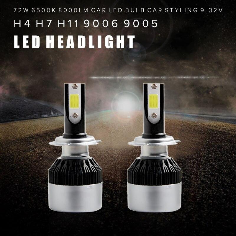 2Pcs Super Bright H7 Led Bulb 72W 8000Lm Headlights Auto Led Lamp With Fan Car Led Light 6500K White 12V Automobiles zdatt 2pcs super bright h7 led bulb lamp canbus 80w 12000lm headlights conversion kit car led light 12v automobiles
