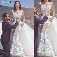 SuperKimJo Detachable Skirt Wedding Dresses 2019 Vestido De Novia Sleeveless Lace Applique Handmade Flowers Bridal Dress