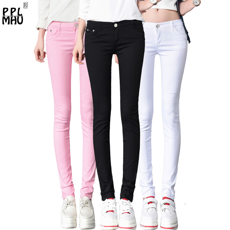 Fashion Streetwear Sexy Low Rise Waist Jeans Woman Casual Stretch Skinny Jeans Candy Color Denim Trousers Washed Pencil Pants
