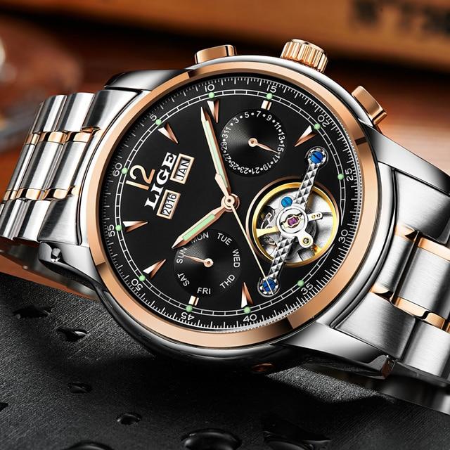 Hombres relojes de lujo Top marca LIGE tourbillon mecánico reloj ... c0ff549e5ee4