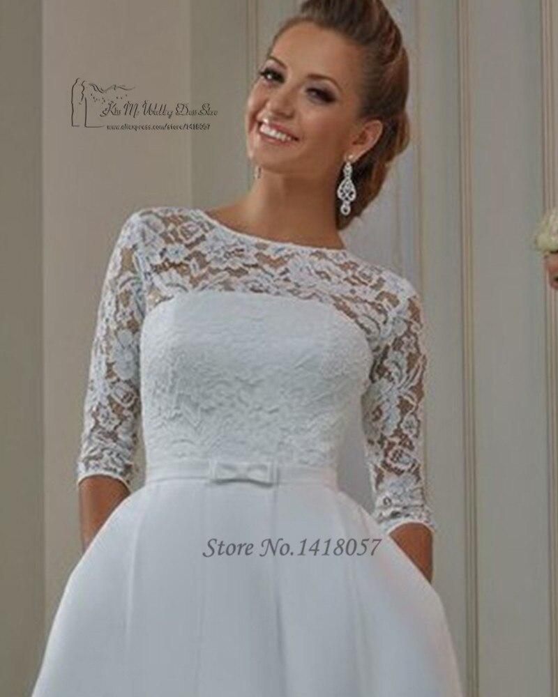 Weddings & Events Vestido De Noiva Ivory Vintage Lace Short Modest Wedding Dresses With Half Sleeves Knee Length Informal Reception Wedding Dress