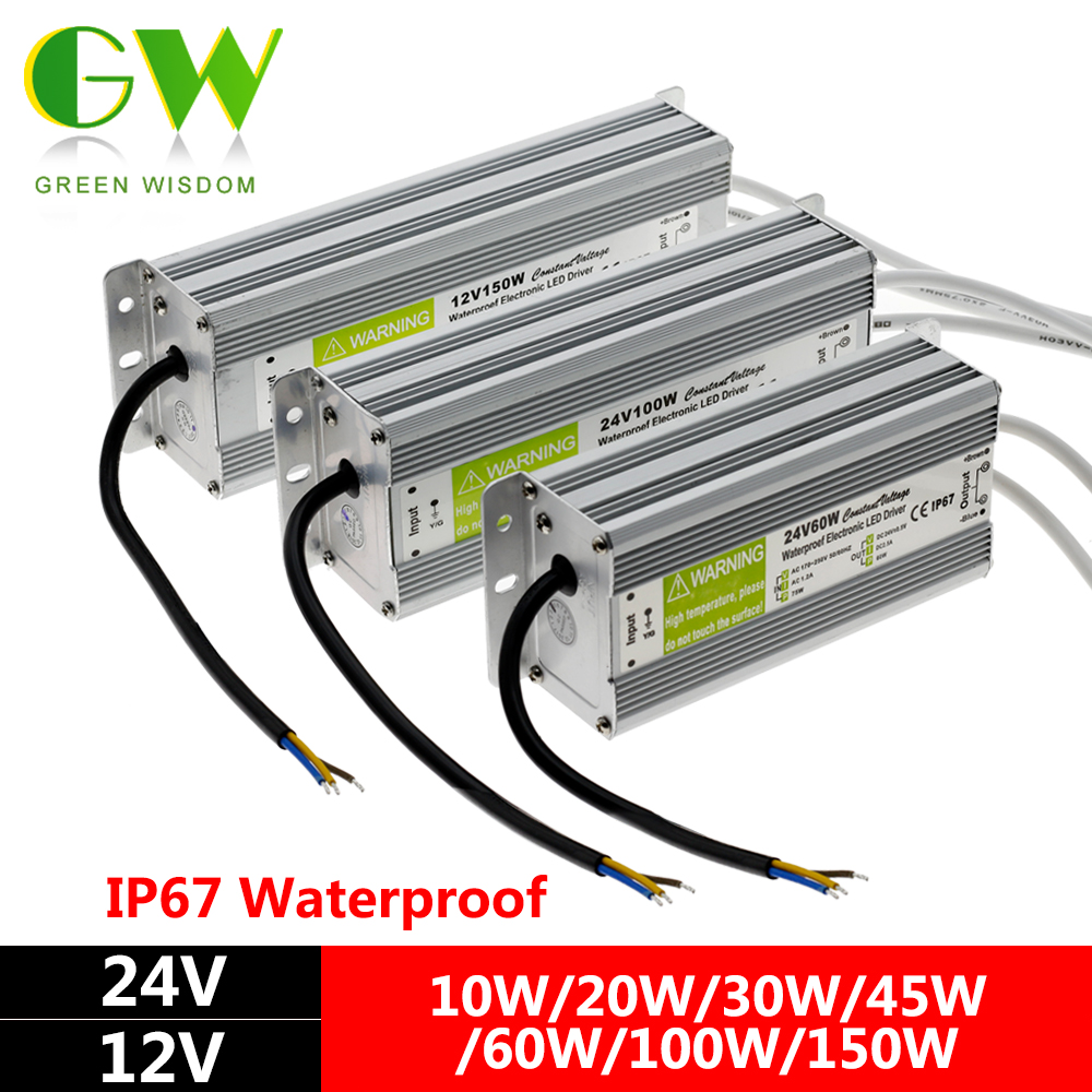 IP67 Waterproof LED Driver DC12V 24V Lighting Transformers for Outdoor Ligh s Power Supply 10W 20W 30W 45W 60W 100W 150W led driver ac220v to dc 12v 10w 20w 30w 60w 100w 150w waterproof ip67 led power supply lighting transformers