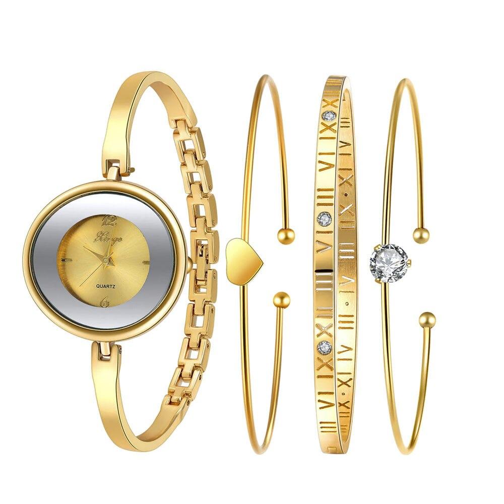 ФОТО Fashion brand montre femme Women Gold Rhinestone Bangle Luxury Watch And Bracelet Set 587 Feida