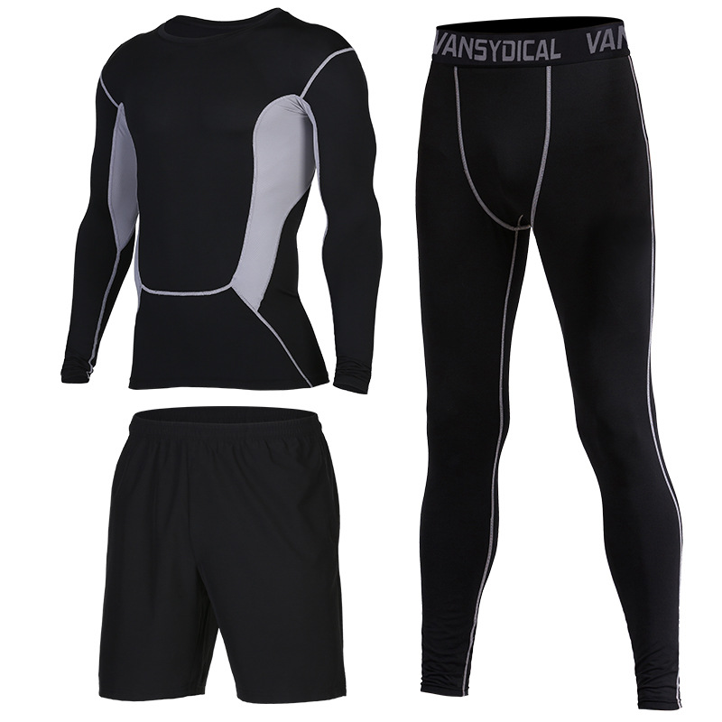 2019 Gym Running Sets Men's Fitness Compression Tights Sportswear Stretchy Training Sports Clothes Jogging Suits 3pcs - 6