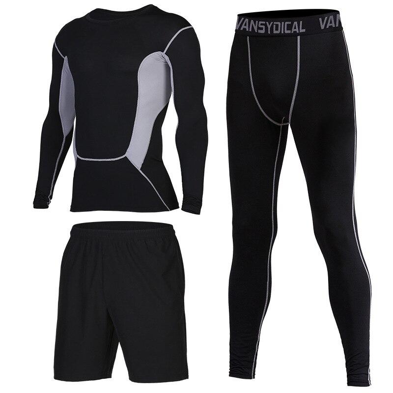 2020 Gym Sets männer Fitness Compression Strumpfhosen Sportswear Stretchy Training Sport Kleidung Jogging Anzüge 3 stücke - 6
