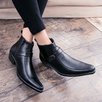 British Mens Pointed Toe Buckle High Top Ankle Boots Med Heel Retro Shoes Black Brown S139