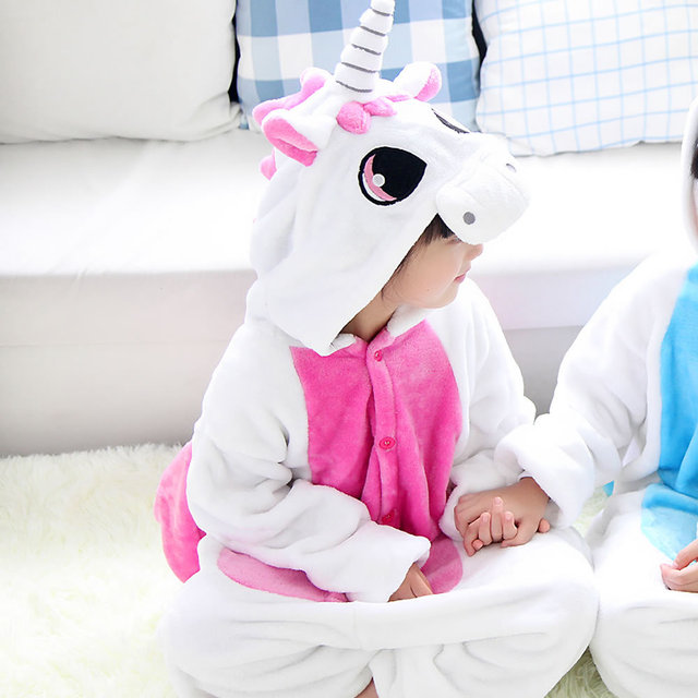 Pegasus Pyjamas Roupas Infantis Menina Pajamas for Kids Flannel Baby Boy Warm Winter Cartoon Blue/pink Unicorn Onesie Sleepwear