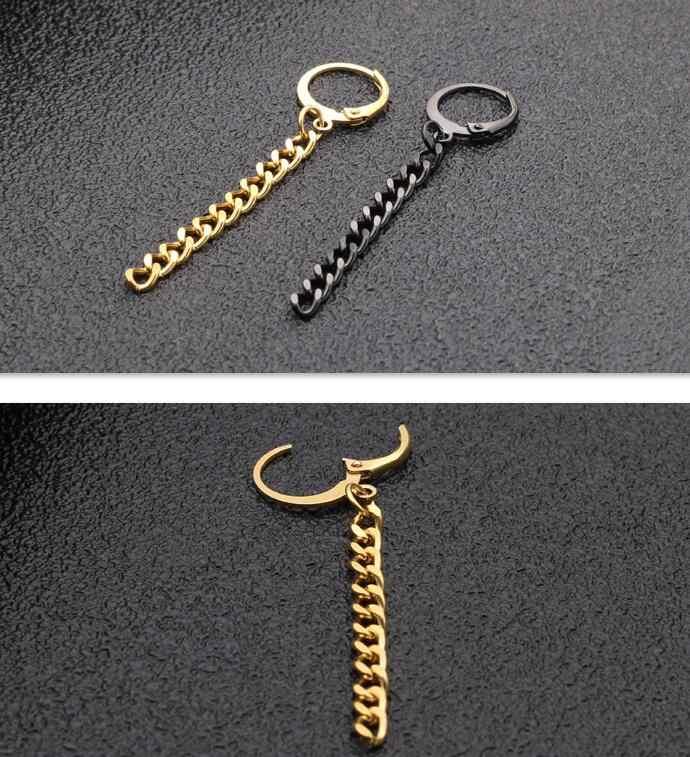 SaYao 2 sztuka złota chirurgiczne kolczyki w kształcie obręczy ze stali nierdzewnej Punk długi łańcuch przekłucie tragus frędzle łańcuchy kolczyki mężczyźni kobiety