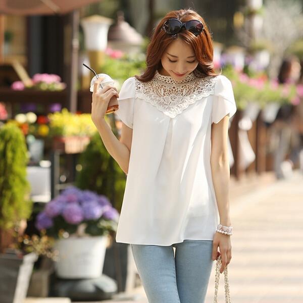 5e4d20c1161ea Blanco gasa y encaje blusa 2016 de las mujeres de la moda de verano Casual  Camisa blusas Plus tamaño manga corta Oficina