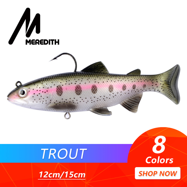 MEREDITH Trout 12cm 15cm Lead Head PVC Fishing Lures Swimming Artificial Baits T Tail Silicone Lead Soft Lures Swimbait Wobblers