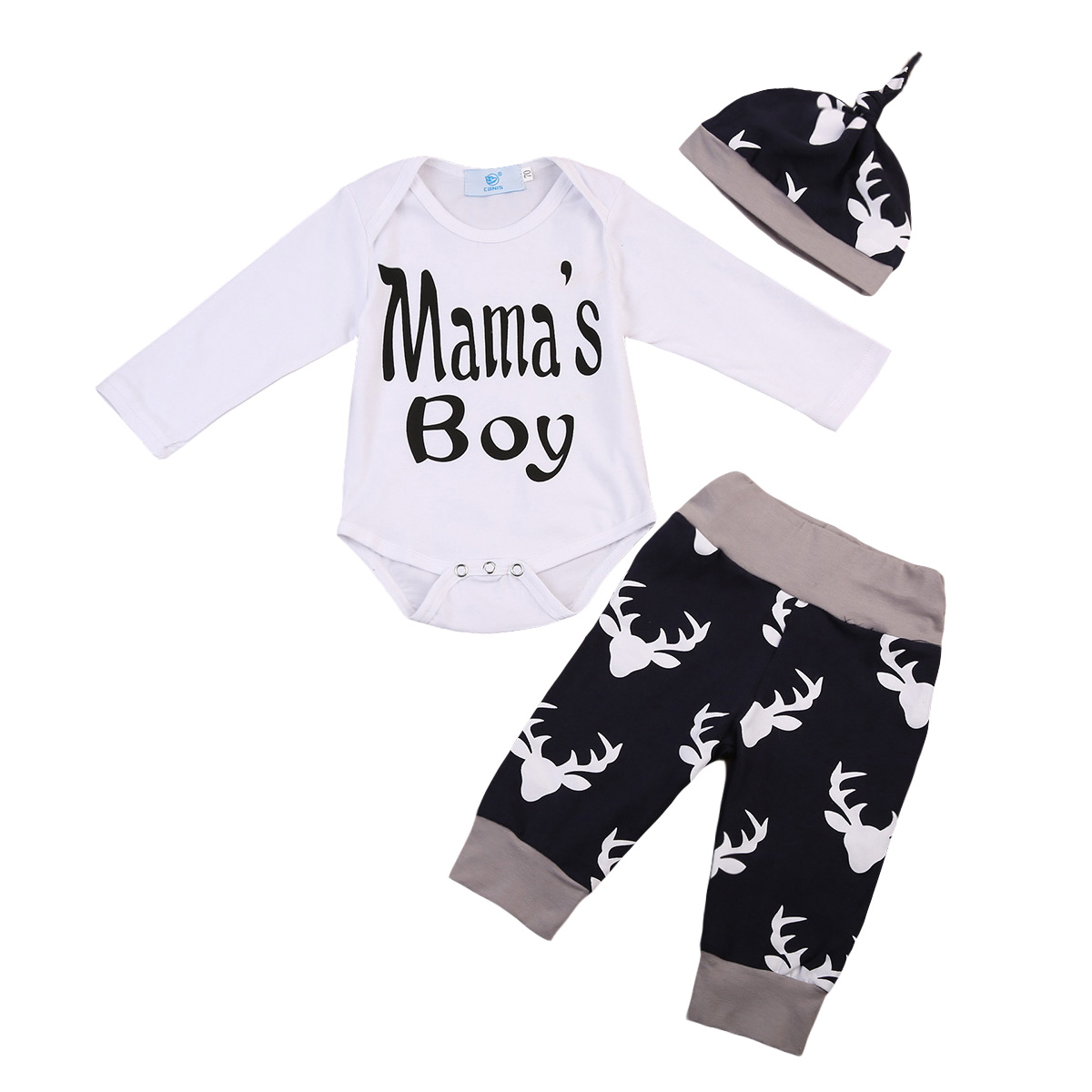 Christmas Baby Clothing 3PCS Baby Boy Long Sleeve Romper Tops Deer Pant Hat Outfit Toddler Kids Clothing Set Children Tracksuit