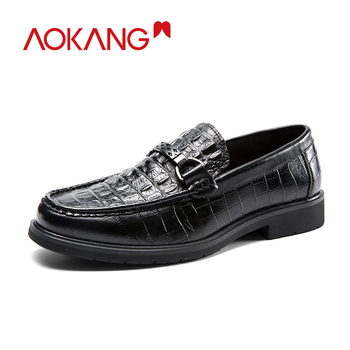AOKANG  New Arrival Man Shoes Dress Genuine Leather Loafers Men Comfortable Breathable Flats High Quality Brand Luxury Shoes