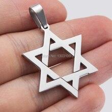 50pcs hexagram diy jewelry polished Magen David Pendant stainless steel Metal Necklace for men women wholesale price
