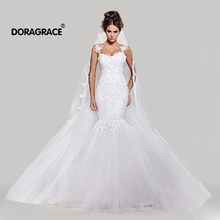 Doragrace Applique Beaded Mermaid Wedding Gowns Dresses Tulle Bridal Illusion Nude Back