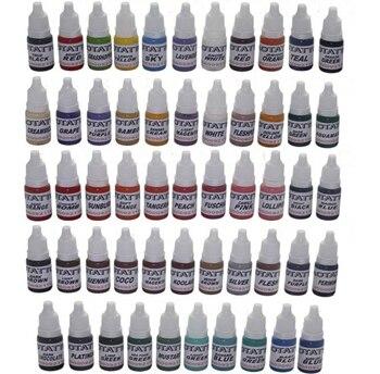 Permanent makeup tattoo ink kit 54 colors C136 tattoo pigment set 10ML free shipping